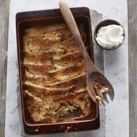 Bread & butter pudding met kokosmelk