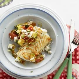 Kabeljauw met courgette, tomaat en feta
