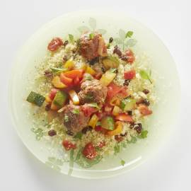 Couscous met gehaktballetjes en rozijnen