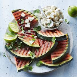 gegrilde watermeloen van de barbecue