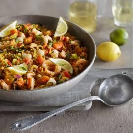 Paella rapido met zeevruchten