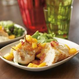Kip met geitenkaas en mangochutney