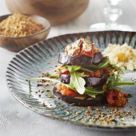 Gegrilde aubergine met dukkah en couscous