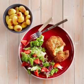Kaasschnitzel met gember en tuinkruiden