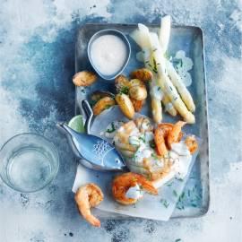 Gebakken kabeljauw met gewokte garnalen en vanillesaus