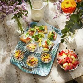 Plaatpizza met rauwe ham, courgettelinten en citroenricotta