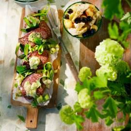 Biefstuk met mosterd-muntsaus