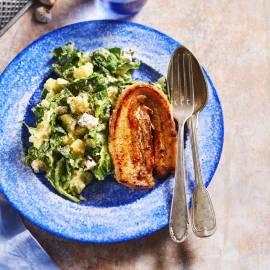 Spinaziestamppot met blauwe kaas en speklapjes