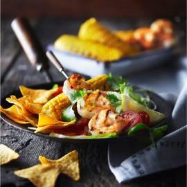 Salade van mais, garnalen en citrusvinaigrette