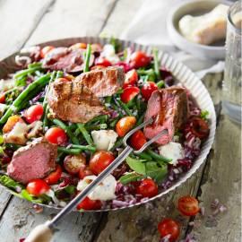 Biefstuk met bonensalade en gorgonzola