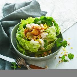Slakommetjes met pikante rijst en pulled pangasius