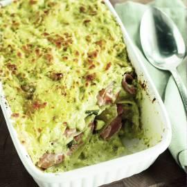 Lasagne met zalm en courgette