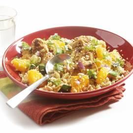 Lauwwarme couscous met kip en sinaasappel