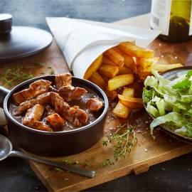Vlaamse stoof met speculaas en frieten