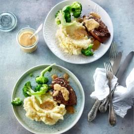 Aardappelpuree met biefstuk en broccoli