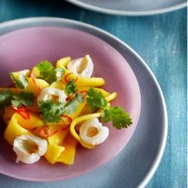 Mangosalade met gember, koriander en rode peper