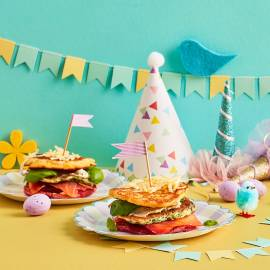 Hartige pancake 'clubsandwich'
