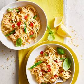 Spaghetti met citroen en krab