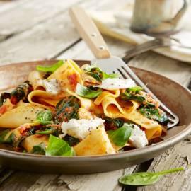 Lasagnette met tomatensaus en mozzarella