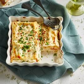Mini-lasagne met asperges, ham en geitenkaas