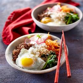 Bibimbap beef bowl
