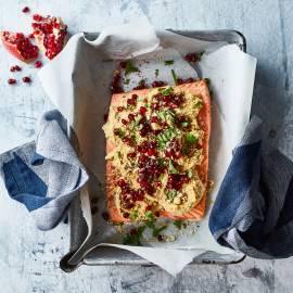Zalm met hummus en dukkah