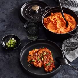 Indische stoof met paprika-sambalpuree