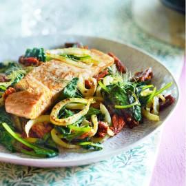 Zalm met venkel en spinazie