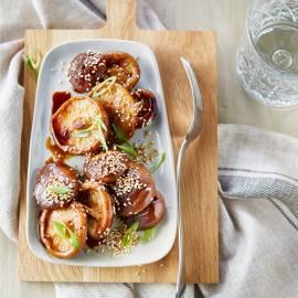 Geglaceerde shiitakes met honing en sesam