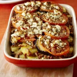 Ovenschotel met shoarma, aubergine en tomaat