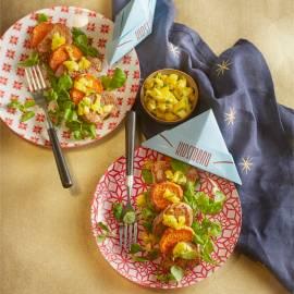 Varkenshaas met gegrilde zoete aardappel en mangosalsa