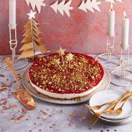 Vanille-cheesecake met cranberry