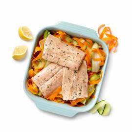 Zalmfilet met groentetagliatelle en citroensaus