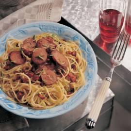 Pasta Carbonara met rookworst en Goudse kaas