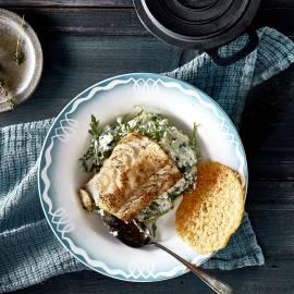 Bloemkool-rucolastamppot met kabeljauw en kaaskrokantje