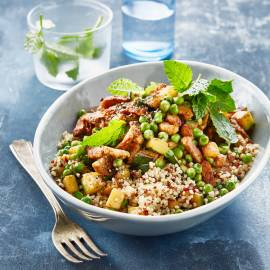 Snelle groenteroerbak met shoarma en quinoa