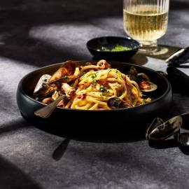 Spaghetti met romige mosselsaus