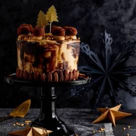 Mokkataart met pecannoten en chocoladeglazuur