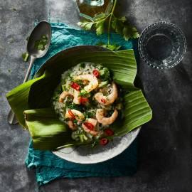 Groene risotto met wokgarnalen
