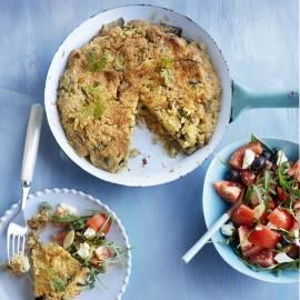 Quinoa-frittata met aubergine en parmezaan