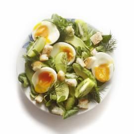 Groene kruidensalade met avocado, kiwi en croutons