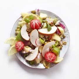 Linzensalade met appel en munt