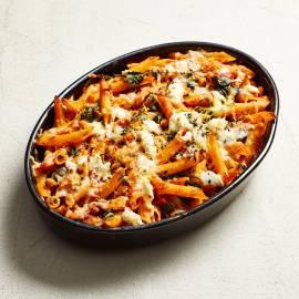 Pasta met kikkererwten, spinazie en ricotta