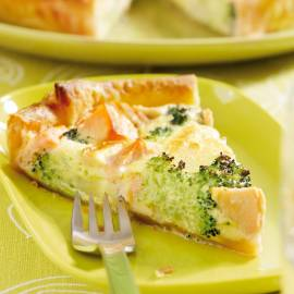 Quiche met zalm en broccoli