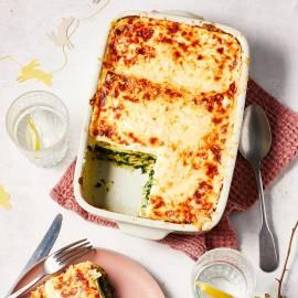 Lasagne met spinazie en romige pestosaus