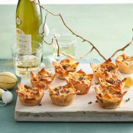 Mini quiche met geitenkaas en rode ui