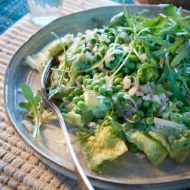 Kaasravioli met groene groentensaus