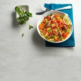 Couscous met gegrilde paprika en runderworstjes