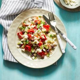 Rijstsalade met gebakken watermeloen en feta
