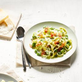 Tagliatelle met tuinbonen en pancetta